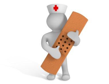 3d nurse with sticking plaster