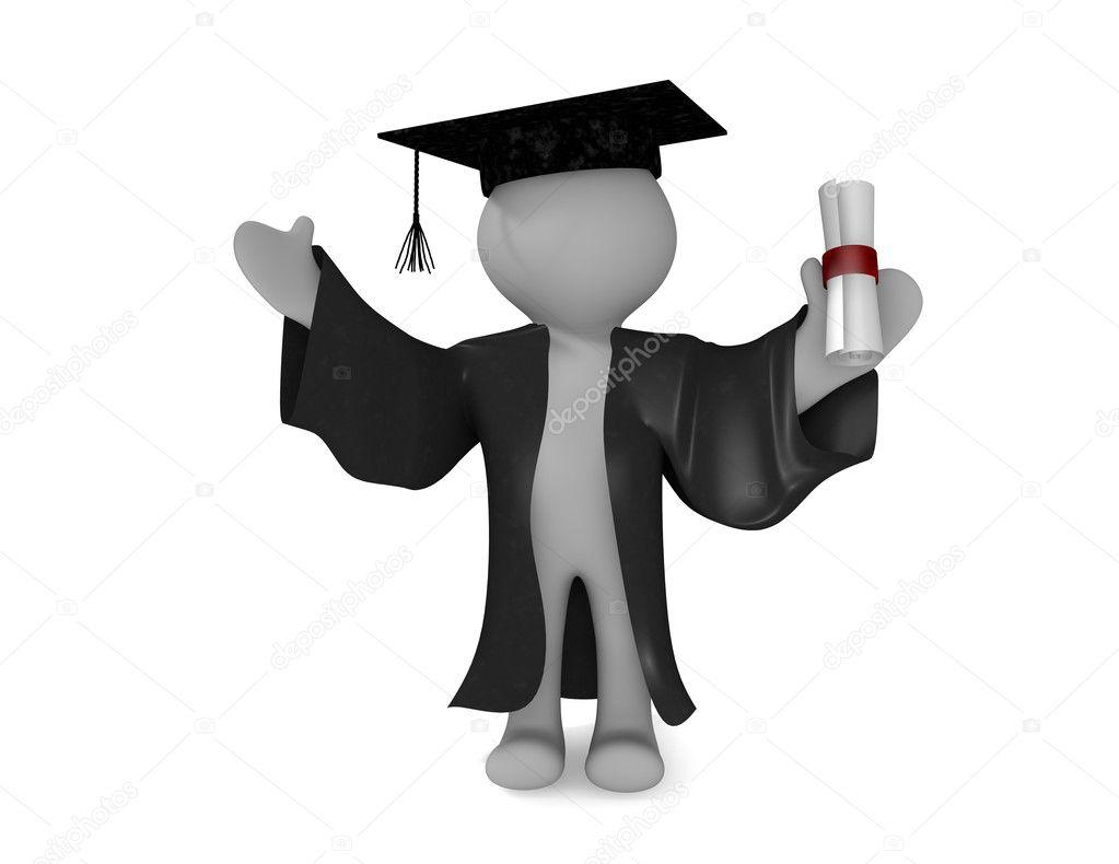 668c7bee4 Hombre 3D en toga y birrete sosteniendo su certificado de doctorado  celebración de graduación — Foto de ...