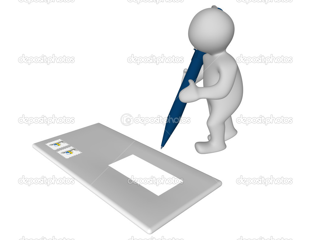 3d man addressing an envelope