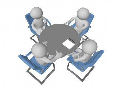 Four 3d human figures sitting at the table