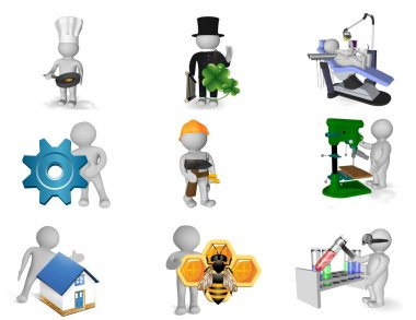 Picture set of 3d persons in various professions