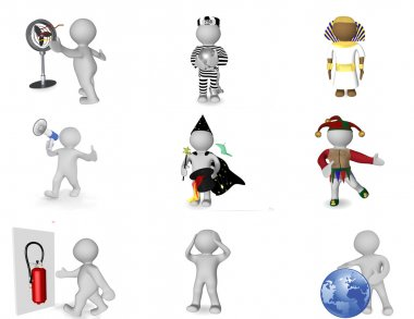 Picture set of 3d persons in various situations