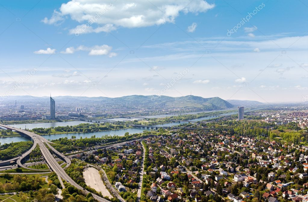 Panorama of Vienna with Danube River & Island (Donauinsel), highway junction