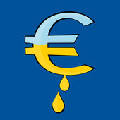 Photo The Euro symbol with drops