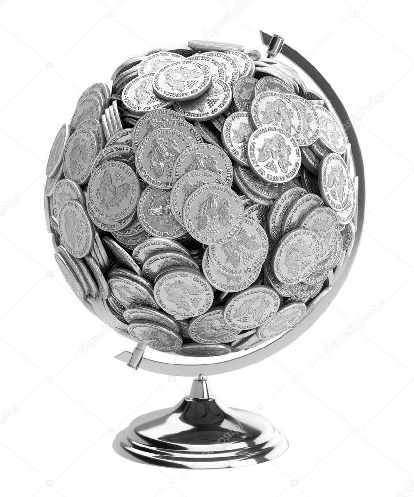Geschenk Für Den Geschäftsmann Globe Münzen Isoliert Auf Wh