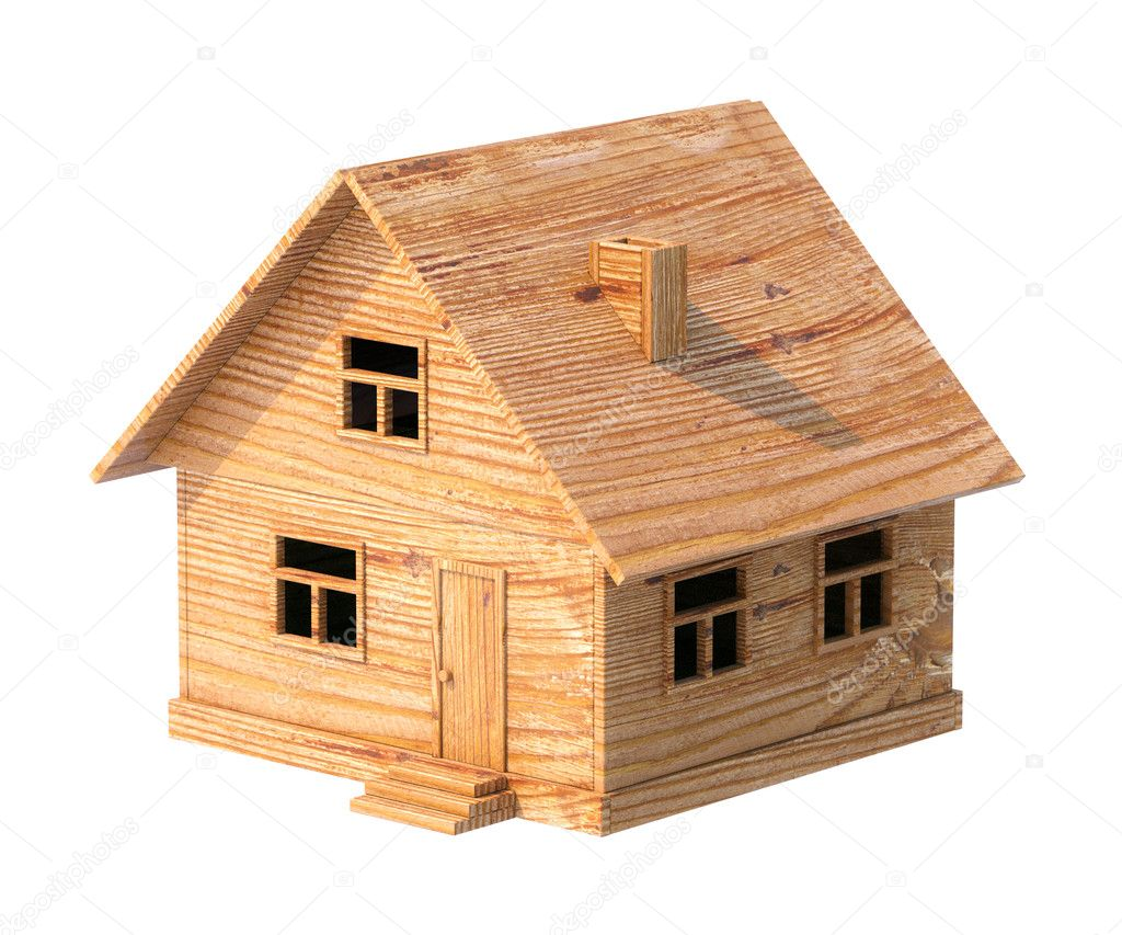 Toy house made of plywood isolated on white stock photo for House of 950