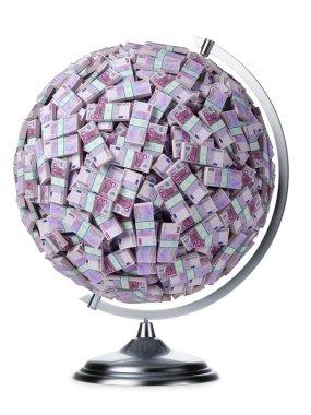 euro money globe on white isolated
