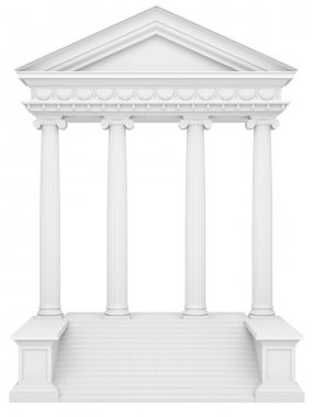 classical columns on a white isolated background