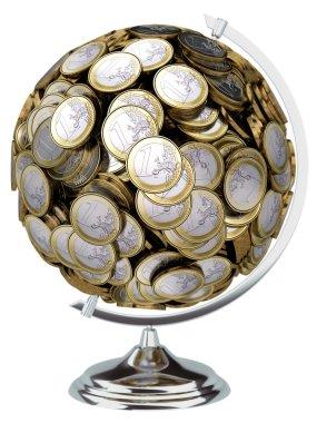 Euro money globe isolated on white background