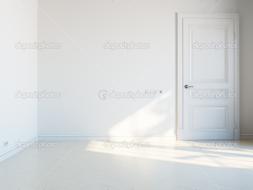 white empty interior with white door and sunlight stock photo 10464966