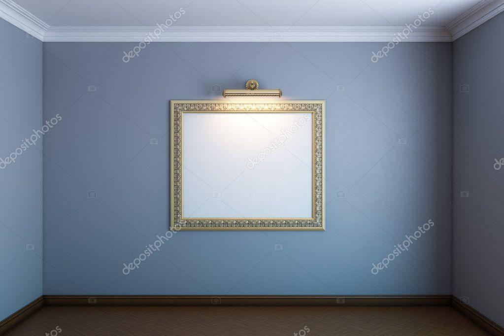 Sala Galería gris con marco blanco clásico en pared — Foto de stock ...