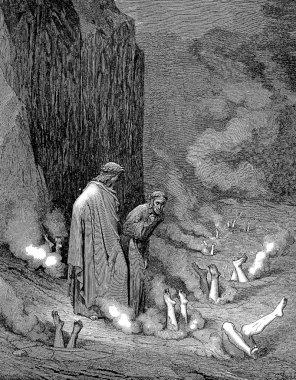 Dante rebukes Pope Nicholas III in the fourth bolgia