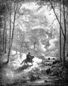 Fotografie Nach Eintauchen in den kochenden See, findet der Ritter sich in einer schönen Landschaft