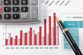 Fotografie Pen showing diagram on financial report
