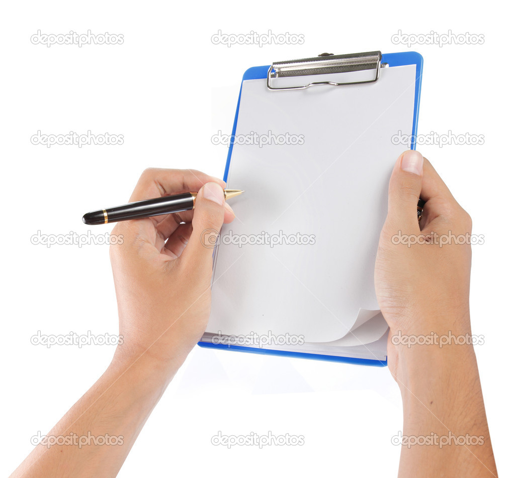 Hands with sheet of paper on clipboard
