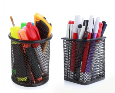 Colorful pens in holder