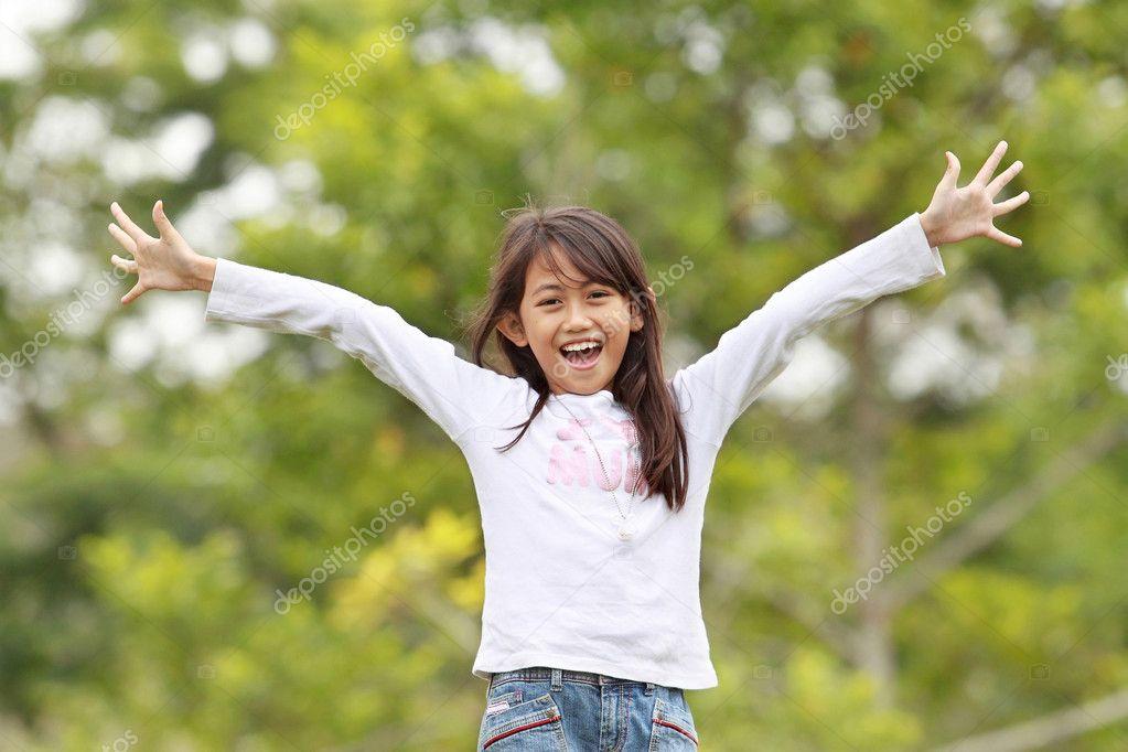 Young girl having fun outdoor