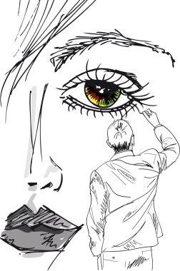 Artist draws beautiful woman face. vector illustration