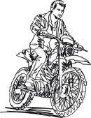 Fotografia schizzo di moto motocross aumentare la velocità in pista. illustrazione vettoriale