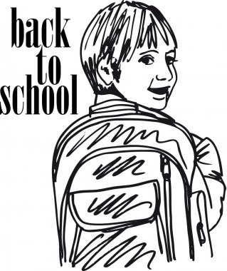 Sketch of School kid smiling. Vector illustration