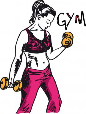 Sketch of a woman working out at the gym with dumbbell weights.