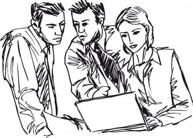 Sketch of successful business working with laptop at office