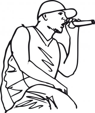 Sketch of hip hop singer singing into a microphone.