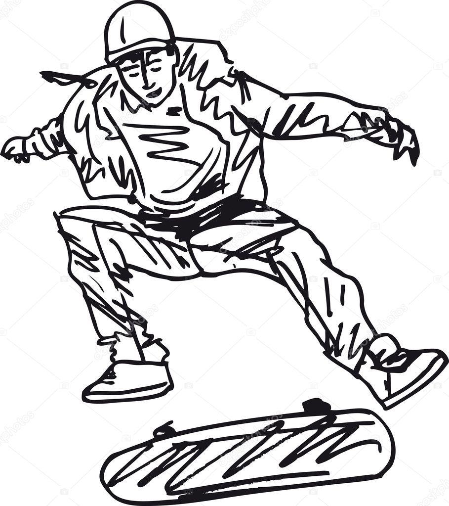 Sketch of Skateboard boy. Vector illustration — Stock ...