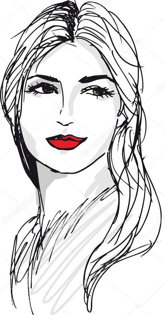 dibujo de mujer hermosa cara. ilustración vectorial — Archivo ...