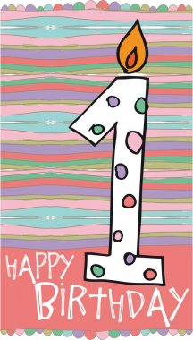 Illustration of Number 1 Birthday Candles with colorful background