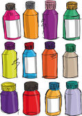Fotografie Sketch of colorful bottles. Vector illustration