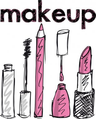 Sketch of Makeup products. Vector illustration