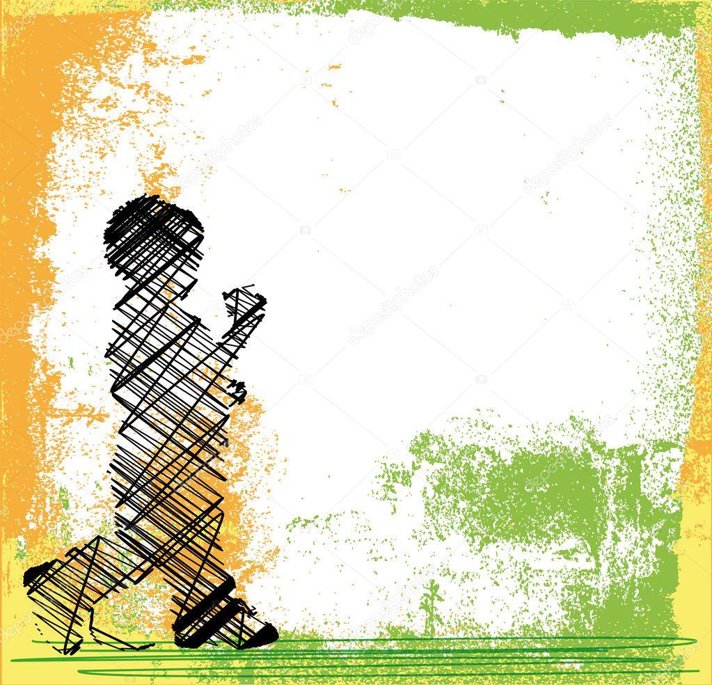Dibujo abstracto de ni os caminando ilustraci n vectorial for Imagenes de cuadros abstractos para ninos