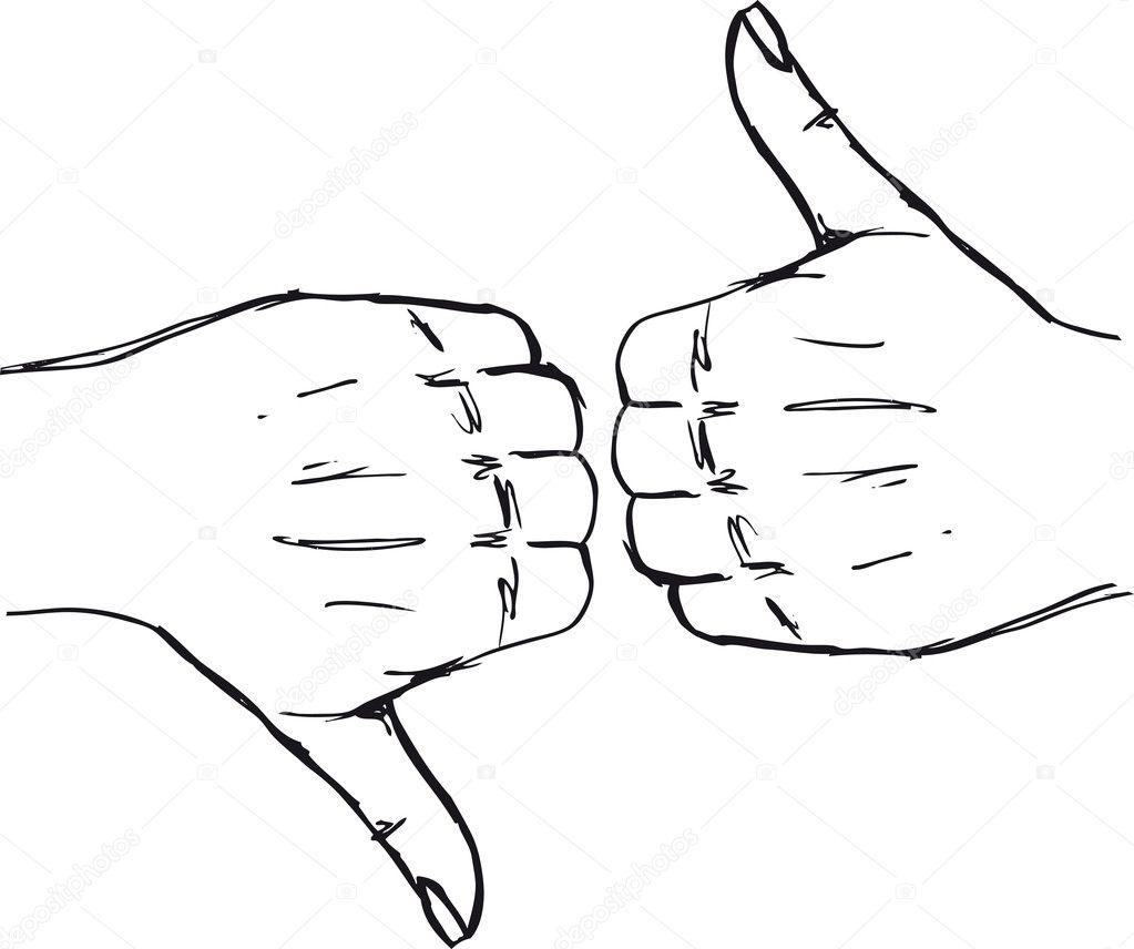 Schets van duim omhoog en duim omlaag hand tekenen  u2014 Stockvector  u00a9 designfgb #10500486