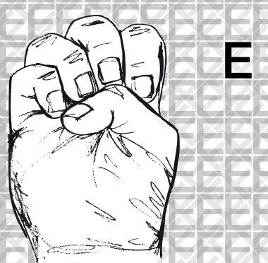 Sketch of Sign Language Hand Gestures, Letter E.