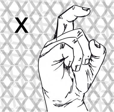 Sketch of Sign Language Hand Gestures, Letter X.