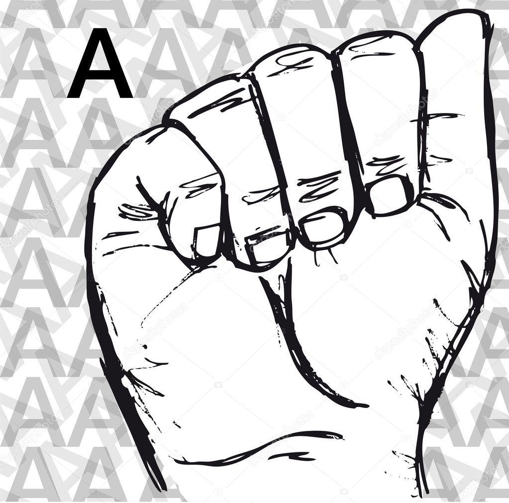 bosquejo de la lengua de señas gestos con las manos, letra a ...
