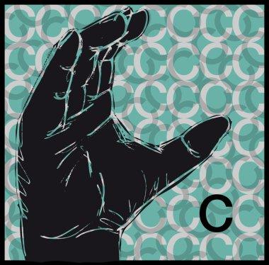 Sketch of Sign Language Hand Gestures, Letter C. Vector illustration