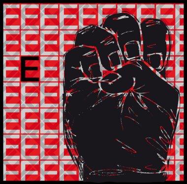 Sketch of Sign Language Hand Gestures, Letter E. Vector illustration