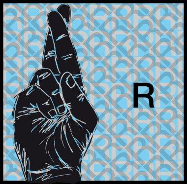 Sketch of Sign Language Hand Gestures, Letter V. Vector illustration