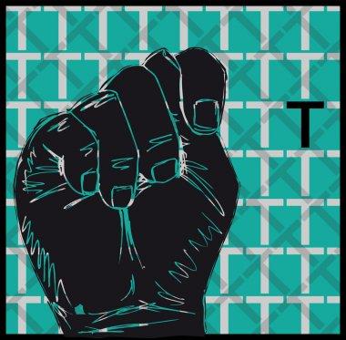 Sketch of Sign Language Hand Gestures, Letter T. Vector illustration