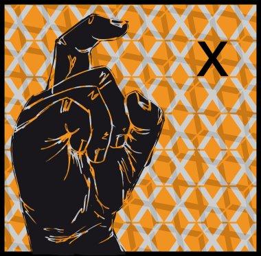 Sketch of Sign Language Hand Gestures, Letter X. Vector illustration