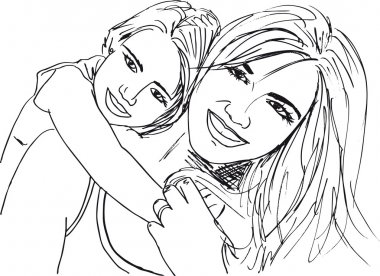 Sketch of little girl having fun with her beautiful mother. Vect