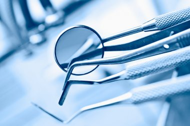 Dental tools in blue