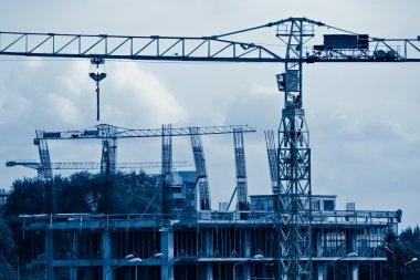Construction blue toned
