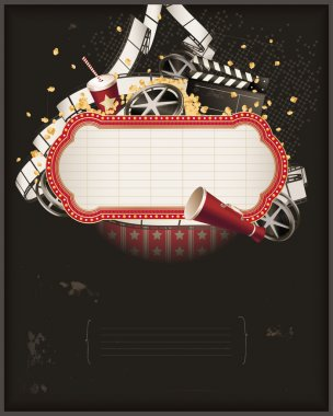 Start the show. Movie theme composition stock vector