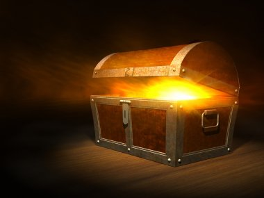 Old wooden treasure chest with strong glow from inside stock vector