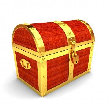 Closed wooden treasure chest stock vector
