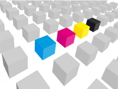 Colorful and gray cubes