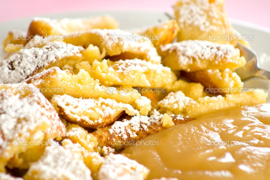 Austrian sweet dessert called kaiserschmarrn with apple ...